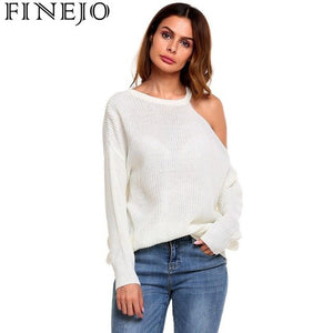 FINEJO Sexy Strapless Off Shoulder Women Sweaters Autumn Casual Long Sleeve One Shoulder Solid Slouchy Loose Pullover Sweaters-lilugal