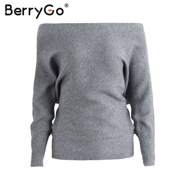 BerryGo Bat long sleeve knitted sweater women Off shoulder sexy elastic knitting pullover female Fashion jumper pull knit shirt-lilugal