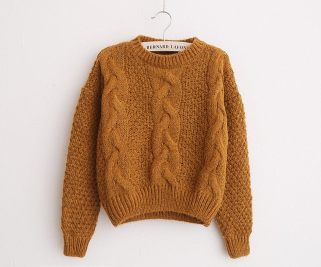 H.SA Women Sweaters Warm Pullover and Jumpers Crewneck Mohair Pullover Twist Pull Jumpers Autumn 2017 Knitted Sweaters Christmas-lilugal