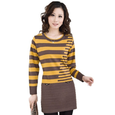 Mother Clothing 2017 New Autumn Winter Women Sweater Pullover Loose Stripe Knitted Wool Basic Shirt Sweater Plus size 5XL OKXGNZ-lilugal