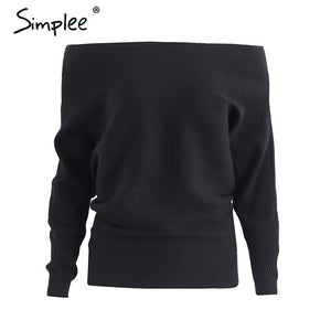 Simplee Off shoulder sexy elastic knitting pullover female Bat long sleeve knitted sweater women Fashion jumper pull knit shirt-lilugal