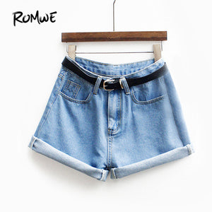 ROMWE Womens Brand Newest Spring Short Jeans Brand Mid Waist Denim Blue Button Fly With Pockets and Belt Cuffed Shorts-lilugal