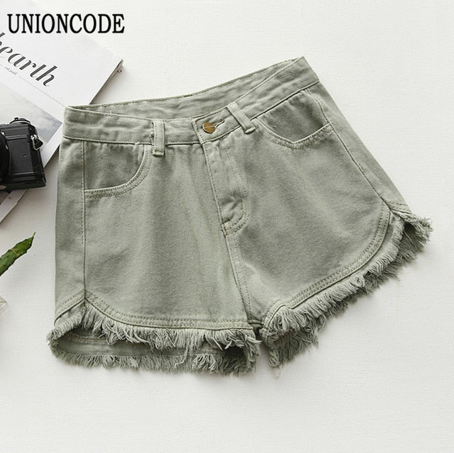 Ripped frayed Edge denim shorts women high waist short jeans feminino pockets black white shorts jeans 2017 summer short femme-lilugal