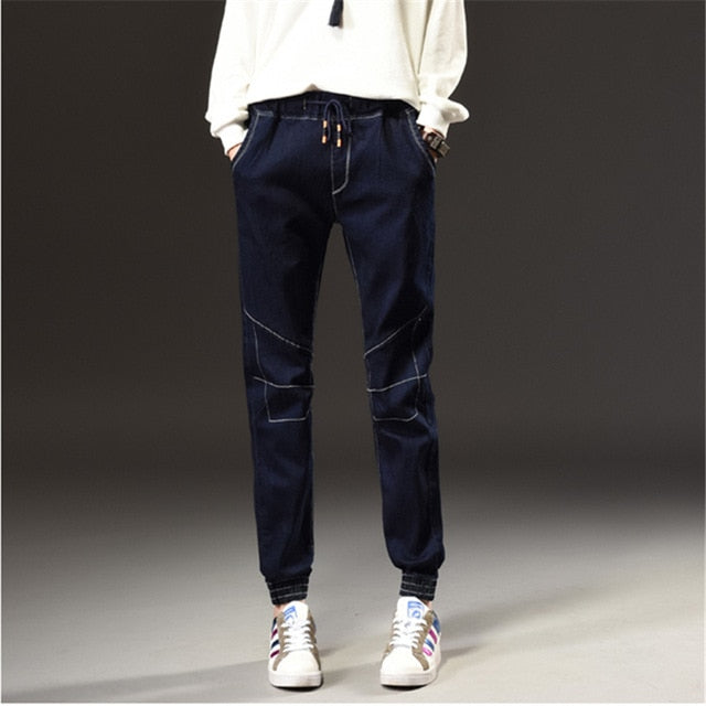 Winter Autumn New Fashion Simple Jeans Woman Elastic Waist Dark Blue Plus Size Jeans Female Pockets Leisure Casual Harem Pants-lilugal