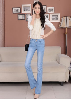 Spring and autumn winter micro-trumpet jeans female trousers waist large size stretch Slim wide leg pants-lilugal