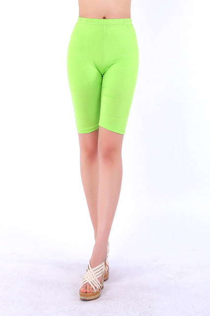 Summer style High Quality big elastic Plus size 5XL Candy Color Modal Knee-length women Shorts-lilugal