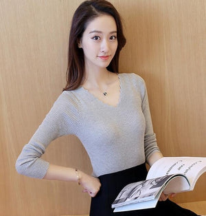 2017 Autumn new Fashion women sweater elegant female thin V neck sweaters women slim long sleeve Knitted Pullovers tight sweater-lilugal