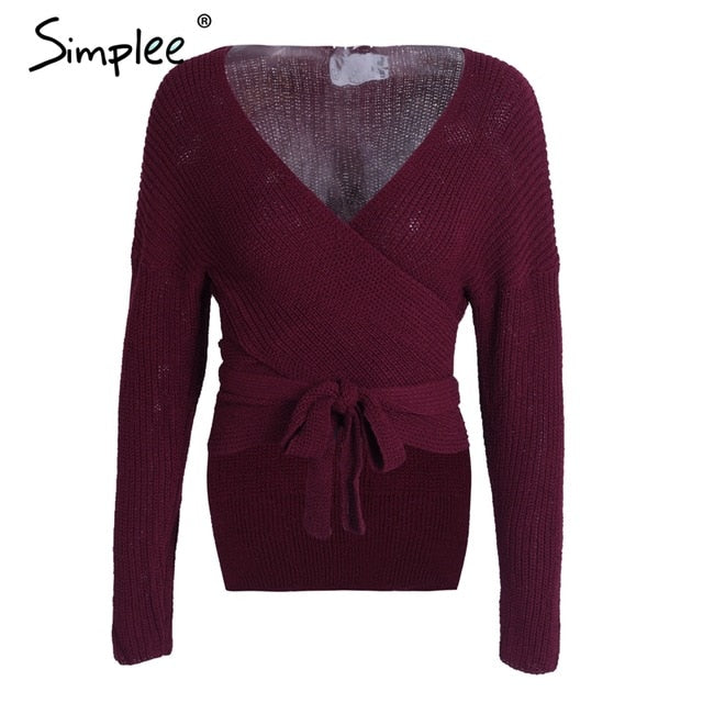 Simplee Casual wrap knitted sweater cardigans Women belt v neck irregular winter sweater jumper Elegant streetwear pull female-lilugal