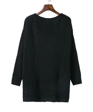 UVKKC Sexy off shoulder split knitted sweater Women brand black pullovers knitwear Autumn winter 2016 white jumper pull femme-lilugal