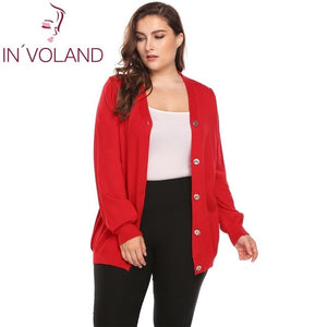 IN'VOLAND Big Size Women Sweater Coat Autumn Casual Long Sleeve Button Solid Large Jumper Basic Soft Cardigan Tops Plus Size-lilugal