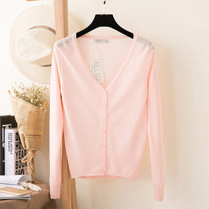 INITIALDREAM Summer Women Knitting Thin Cardigan Coat Solid Color V-Neck Long Sleeve Loose Female Casual Knit Cardigan Coat Tops-lilugal