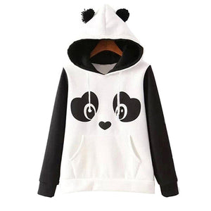 2017 New Fashion High Quality Women's Winter Warm Panda Fleece Pullover Jumper Hooded Sweater Coat Tops-lilugal