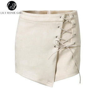 Lily Rosie Girl Beige Lace Up Suede Leather Casual Shorts Women Autumn Winter Black Sexy High Waist Shorts Mujer Ladies Shorts-lilugal