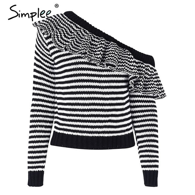 Simplee Striped knitted pullover sweater women One shoulder ruffle long sleeve jumper Casual autumn winter knitting pull femme-lilugal