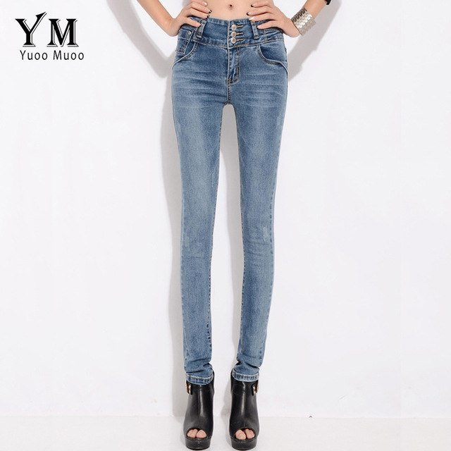 YuooMuoo Women Full Length Long Elastic High Waist Jeans Vintage Skinny Stretch Pencil Pants 3 Button Fly Denim Trousers-lilugal