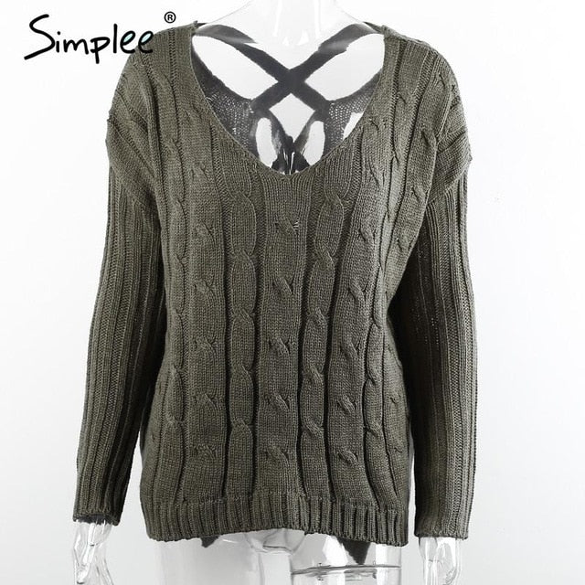 Simplee Autumn cross top Backless knitted sweater women 2016 Oversized winter knitwear Loose jumpers white pullover-lilugal
