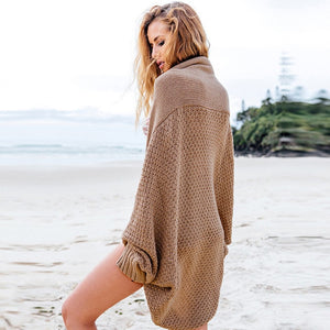 Womens Thick Batwing Loose Cardigan Shawl Wrap Sweater Tops Knitted Poncho Cape-lilugal