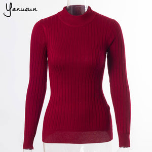 Yanueun Fashion Women Sweaters And Pullovers Female Solid Wool Pullover Knitted Casual Oversized Pull Femme Sweater-lilugal