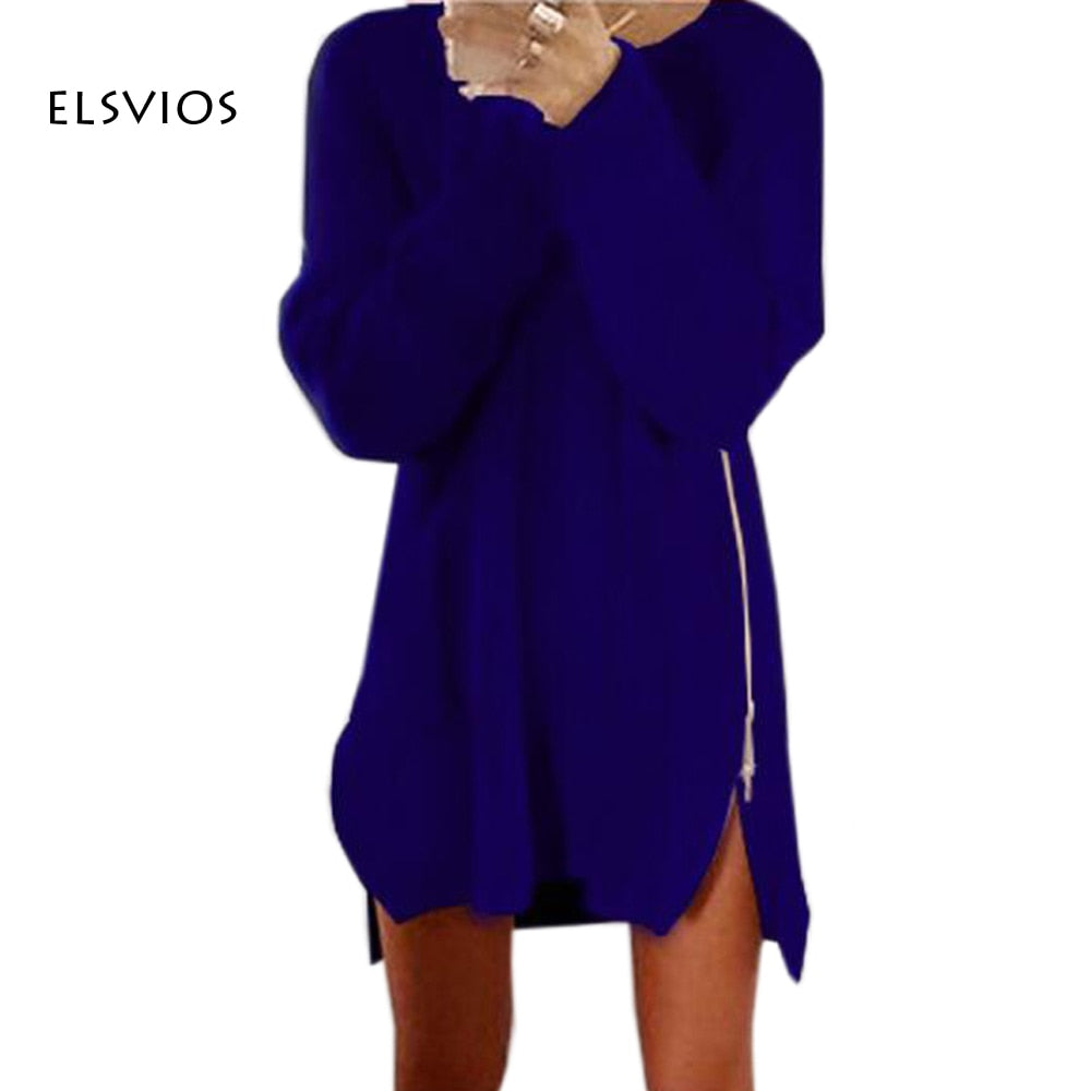 ELSVIOS 2017 Casual Warm Winter Autumn Women Sweater Knit Fashion Elegant Long Sleeve Zipper Womens Clothing plus size 21 colors-lilugal