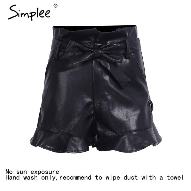 Simplee Side lace up black Leather shorts Women cinched belt eyelet high waist shorts 2017 autumn camel short paperbag bottom-lilugal