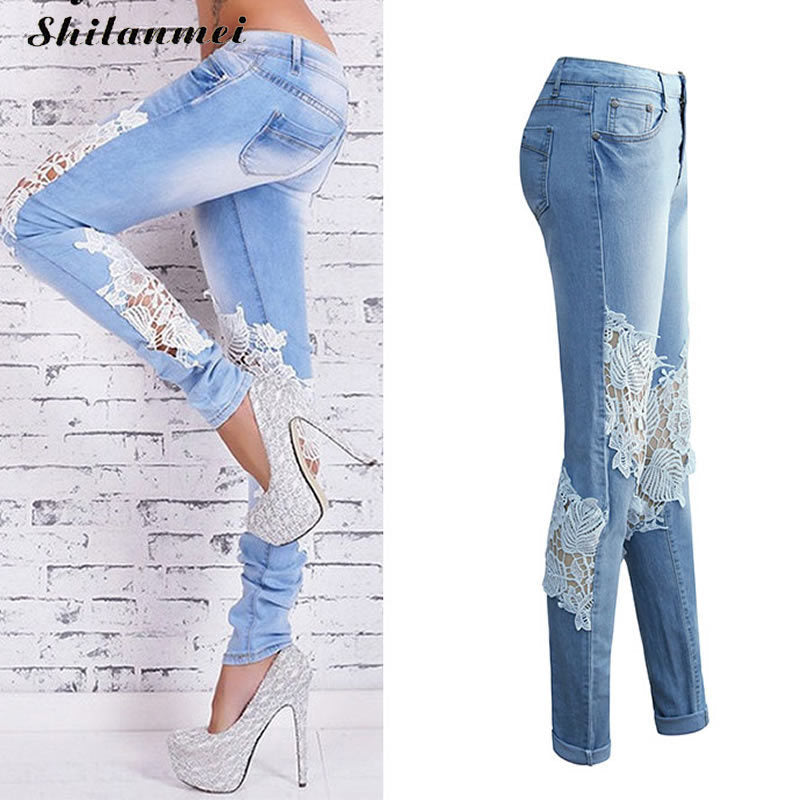 Lace Jeans Women 2017 Ladies Floral Embroidery Jeans Casual Hollow Out Womens Denim Skinny Pencil Pants Streetwear Clubwear XXL-lilugal