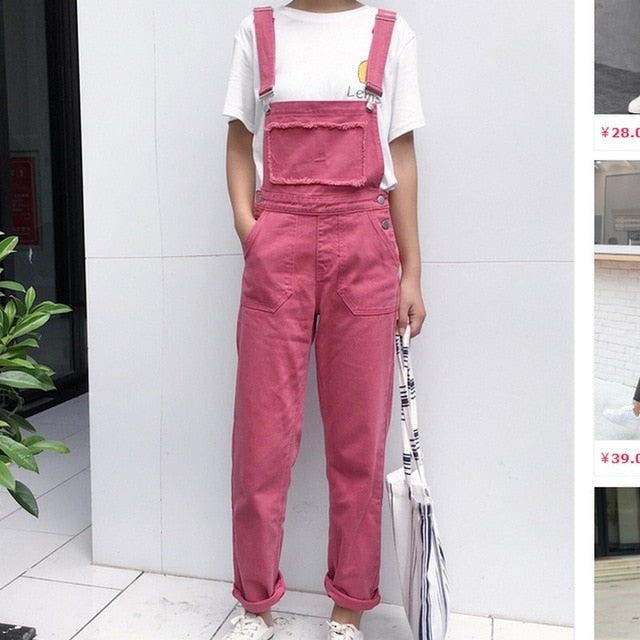 EXOTAO Rose Red Jeans for Women Casual Denim Jumpsuits Female Boyfriends Overalls High Waist Pantalon Femme 2017 New Jean Pants-lilugal