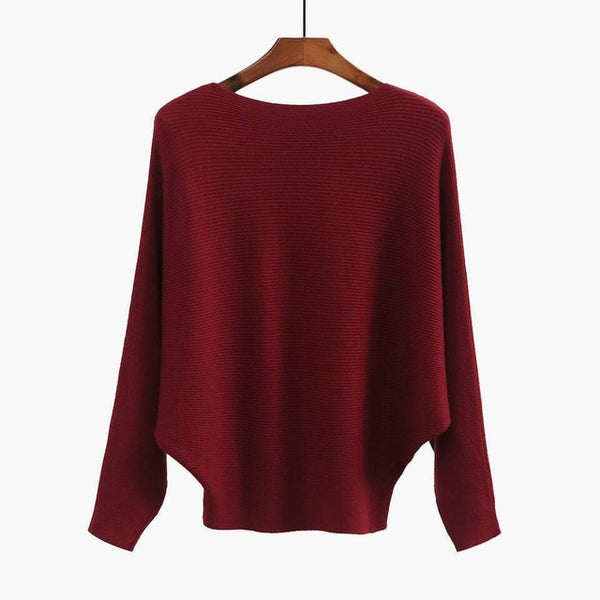 2017 Autumn Women Sweaters Fashion O Neck Batwing Pullovers Loose Knitted Sweater Female Jumpers Tops Women Batwing Sweaters-lilugal