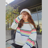 Women's Japanese Harajuku Cute Sweet Rainbow Stripe Loose Long Sleeve Sweater Female Korean Kawaii Knitted Jumper And Pullover-lilugal