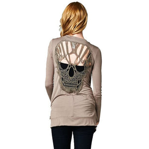 POENFLY Skull Hollow Out Women Sweaters Knitted Long Sleeve Cardigans Spring Thin Cardigans Sexy Blusas Mujer Body Top Plus Size-lilugal