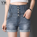 YuooMuoo Women Summer Lace Up Denim Shorts Skinny High Waist Plus Size Grey Fashion Buttons Fly Slim Jeans For Female feminino-lilugal