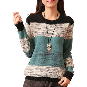 Saiqigui 2017 New Autumn winter O-Neck Women Sweater Long Sleeve Pullovers Knitting Casual Sweaters pull femme sudaderas jumper-lilugal