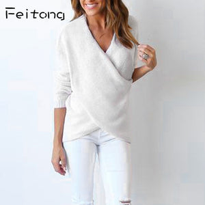 Womens Fashion Solid Sweater V-Neck Cross Long Sleeve Loose Knitted Sweater Casual Tops Long Knitted Cashmere Sweater-lilugal