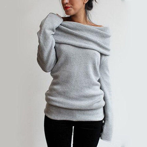 Women Sexy Casual Off Shoulder Roll Neck Long Sleeve Knitted Jumper Sweater Top-lilugal