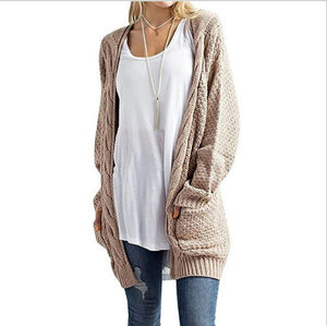 New 2017 Autumn winter Long Cardigan Women long sleeve Big Pocket Pink Knitted Oversized sweater female Solid Cardigans JS42-lilugal
