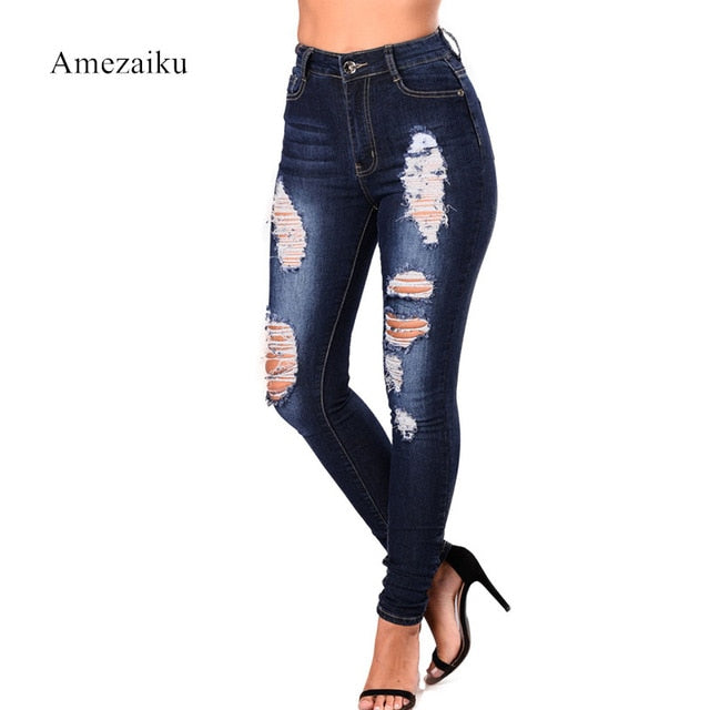 New arrival fashion jeans women hole jeans Ripped pencil full length jeans high waist elastic demin-lilugal