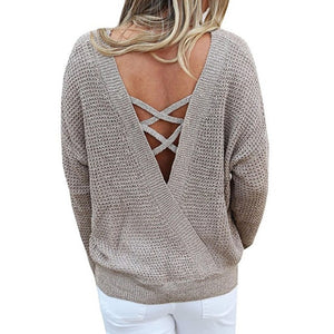 LOGAMI V Neck Backless Long Sleeve Women Sweaters And Pullovers Knitted Christmas Sweater Pullover Fall 2017 Fashion-lilugal