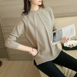 2017Women Autumn Sweater Long Sleeve O-Neck Loose Solid Twisted Splited Ends Pullovers Winter Warm Tops-lilugal