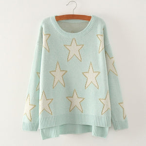 UVKKC Women Autumn knitted sweater star design loose pullover women tops Slim o neck long sleeve warm jumper pull femme sweater-lilugal