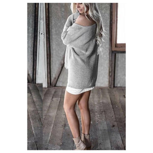 BFYL Winter white knitted sweater women 2017 autumn pullover sweater Sexy long sleeve off shoulder sweater jumpers 4 COLORS S-L-lilugal