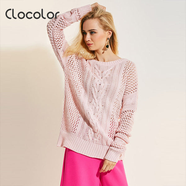 Clocolor women knitted sweater loose hollow long sleeve pullovers warm sweet girls outwear shirts round neck sweaters pullovers-lilugal