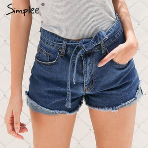 Simplee Denim shorts women buttons Elastic bow fringe blue high waist shorts Casual 2017 pockets sexy mini short jeans shorts-lilugal