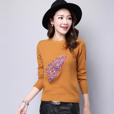 Women Autumn Fashion O Neck Embroidery Beading Pullover Sweater Ladies Knitted Brife Sweaters Female Winter Knitwear Outfit Tops-lilugal