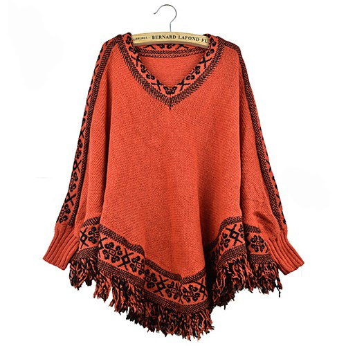 2015 New Style Women's Sleeve Batwing Pullovers Tassels Hem Cloak Poncho Tops Knitting Sweater Coat Retail/Wholesale 64A6-lilugal