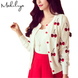 Makuluya Autumn Spring Women Sweater Cherry Embroidery Pattern All-match Jacket Coats Long Sleeve Short Knitting Cardigans BKQW-lilugal