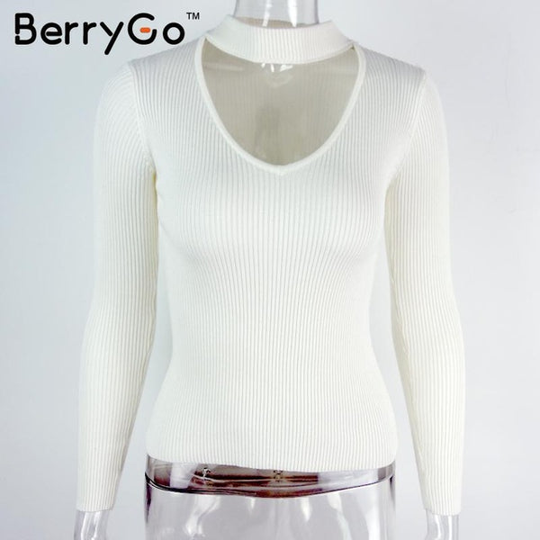 BerryGo Autumn winter black halter knitted sweater White sexy pullover women tops Slim v neck long sleeve chic jumper pull femme-lilugal