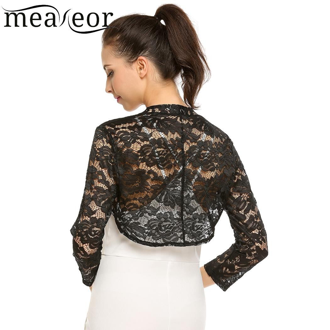Meaneor Women Lace Floral Autumn Cardigans Front Open Bolero Feminine Cardigan Tops See-through Casual 3/4 Sleeve Slim Tops-lilugal