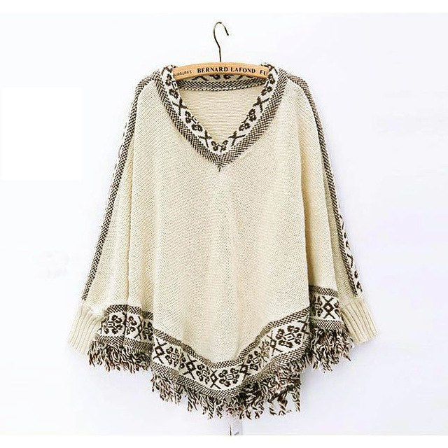 Winter Women Batwing Sleeve Tassels Hem Loose Pullover Blouse Irregularity Cloak Poncho Cape Tops Knitting Sweater Coat Shawl-lilugal