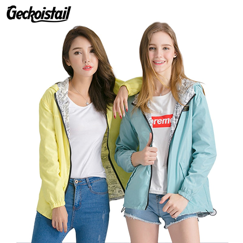 Geckoistai Jackets Women Front Back wear Jacket Women's Hooded Outwear Women Jacket Fashion Thin Windbreaker Outwear Women Coat-lilugal