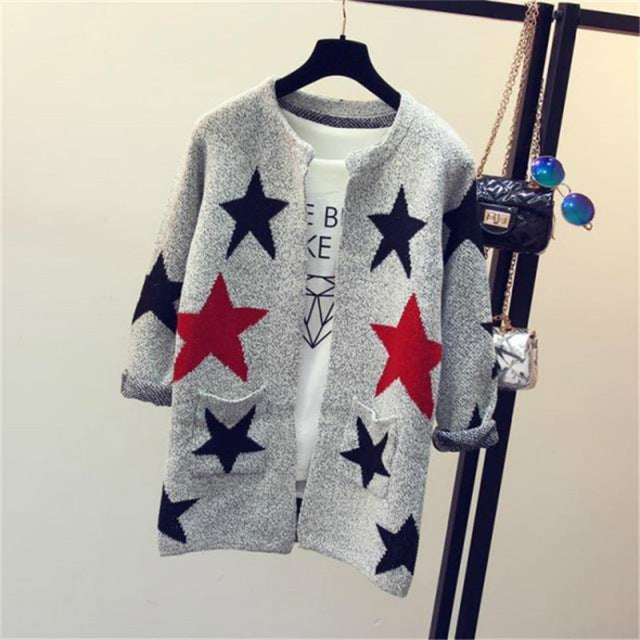 2017 Fashion Star Pattern Cardigans Female Sweaters Long Sleeve Knitted Slim Women Sweater Cardigan-lilugal