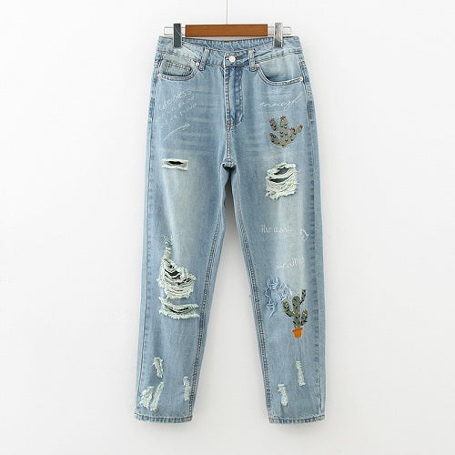 Cactus Embroidery Ripped Hole Light Blue Women Vintage Jeans Denim Harem Pants Casual 2017 Fashion high Waist Loose Long Trouser-lilugal